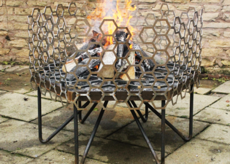 Honeycomb Fire Pit in Mild Steel